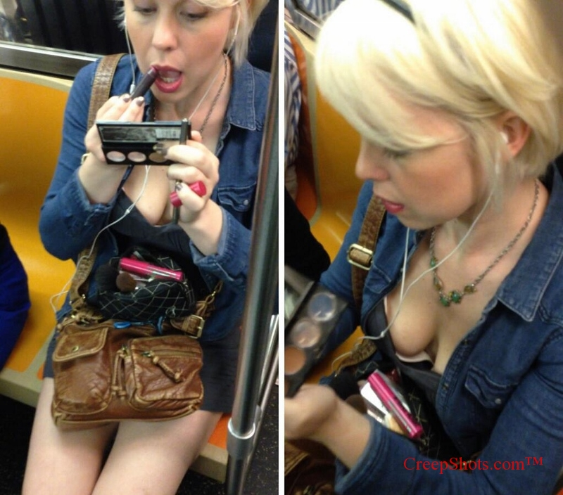 down blouse cleavage creepshot blonde putting on makeup